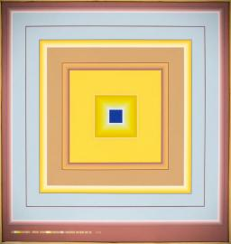 Yellow and blue squares in squares with dark blue core